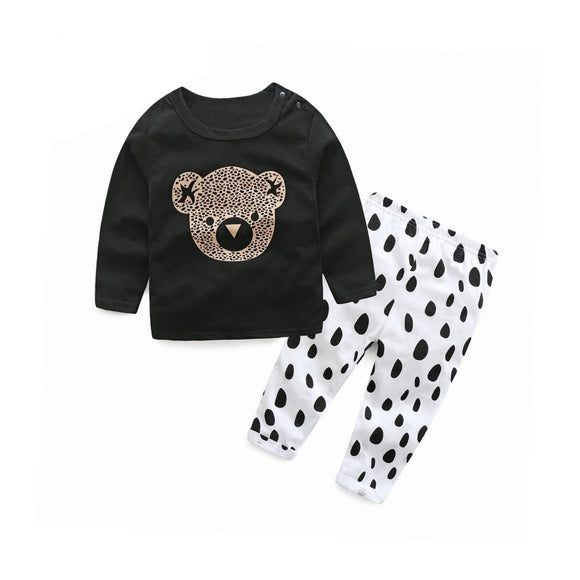Funky bear and Dalmatian spot top and trouser set (0-2 years)