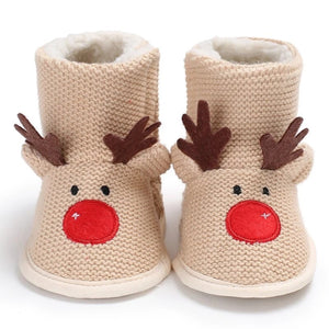 Reindeer fleece lined winter booties with Velcro fasten
