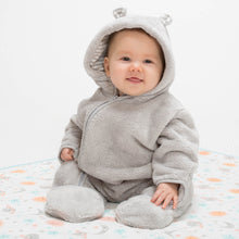KITE bear fleece organic GOTS certified cotton lined zippy onesie