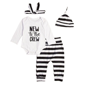 New to the crew. Unisex monochrome set with hat or headband
