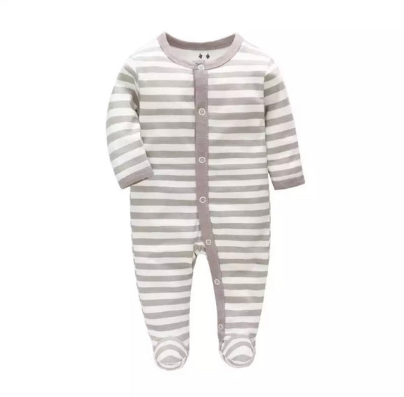 Grey stripe cotton baby grow sleepsuit (newborn to 6 months)