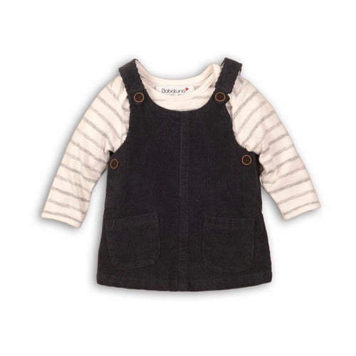 Cord black pinafore dress with soft striped bodysuit (12-24 months)