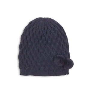 Navy glitter Pom Pom cable knit hat (Up to 3 years)