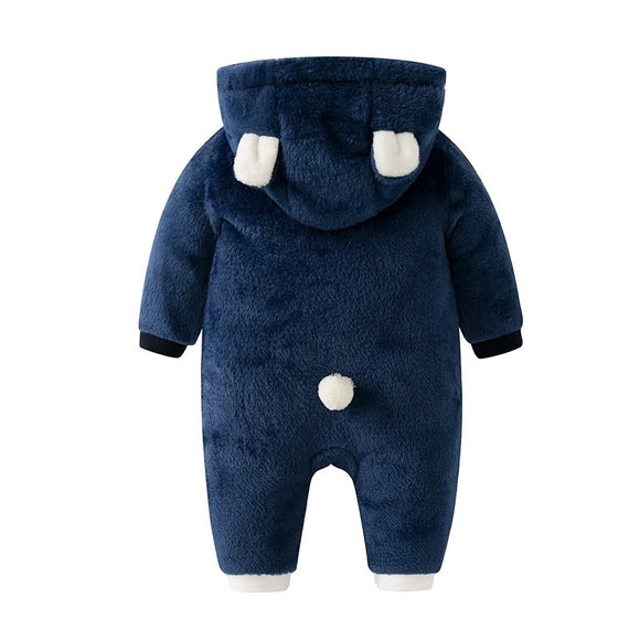 Navy fleece bear pramsuit (0-12 months)