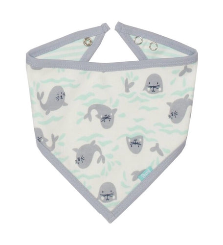 KITE organic cotton GOTS certified reversible seal bandana bib