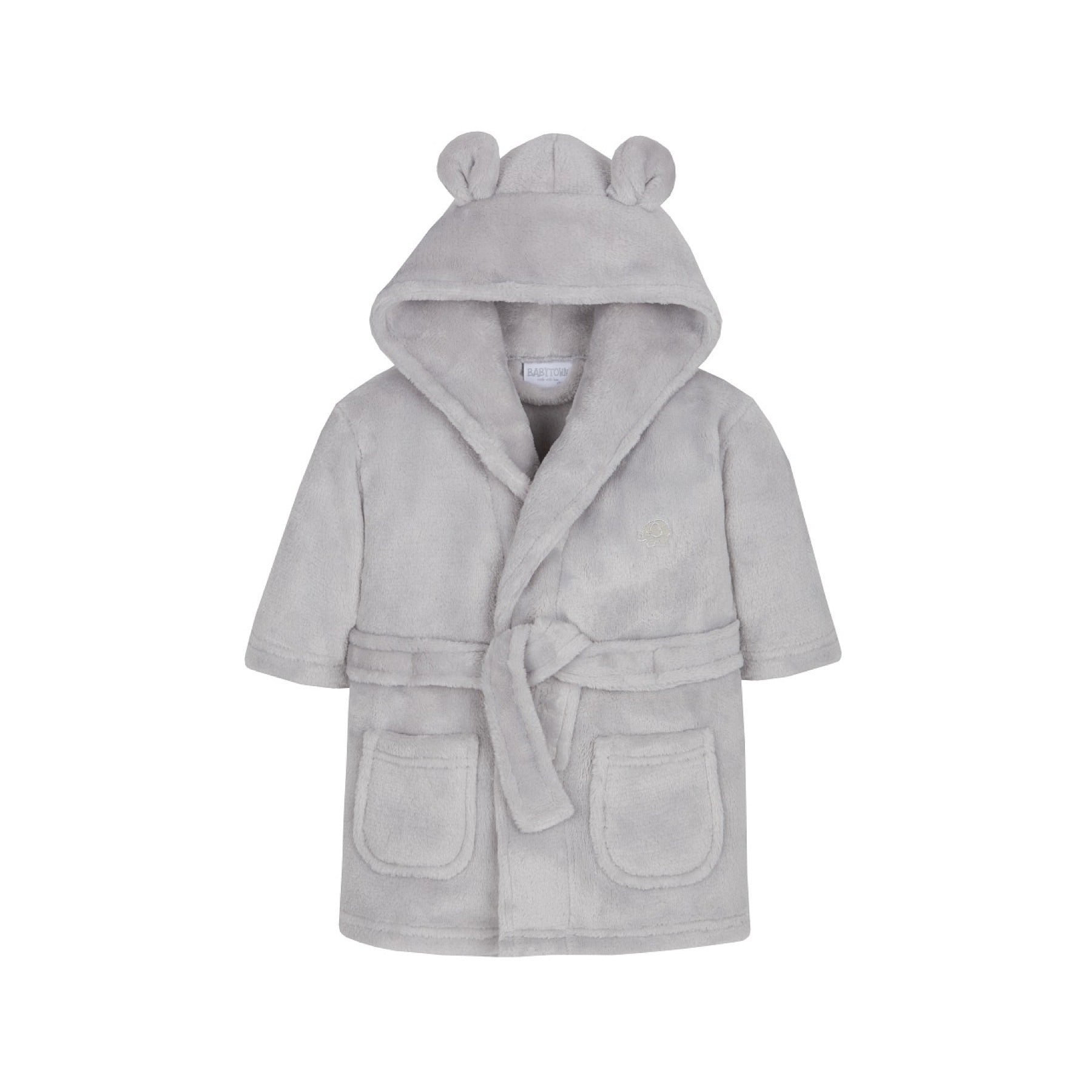Hooded bear ear fleece grey dressing gown (0-24 months)