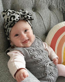 Leopard headband 0-3 years. Jersey cotton stretch. Grey