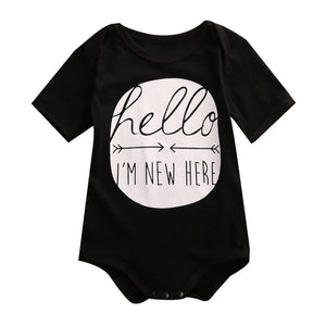 """Hello I'm New Here"" short sleeve monochrome bodysuit"