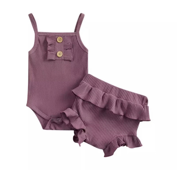 Blackcurrant ribbed bodysuit with frill bloomers (up to 24 months)