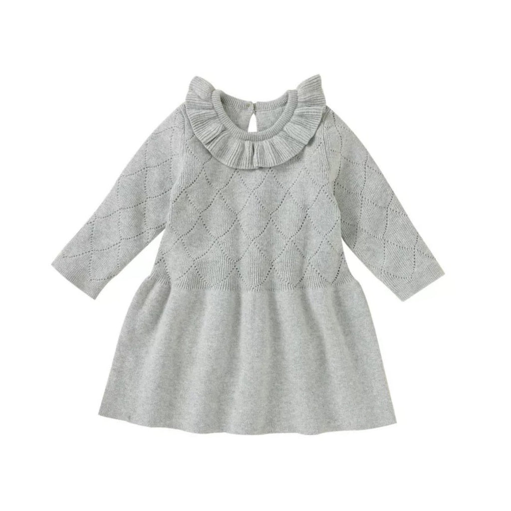 Grey rib frill collar knitted jumper dress (6 months to 3 years)