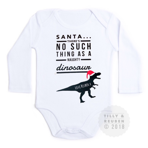 "Personalised ""Dear Santa - There's no such thing as a naughty dinosaur "" Christmas Tilly & Reuben Charity Design © 2018"