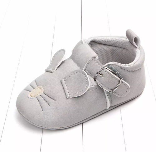 Grey mouse buckle up T bar pram shoes