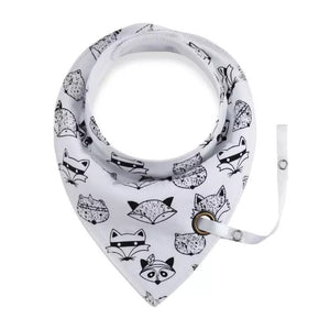 Raccoon and friends  fleece-lined cotton dribble bib with soother holder