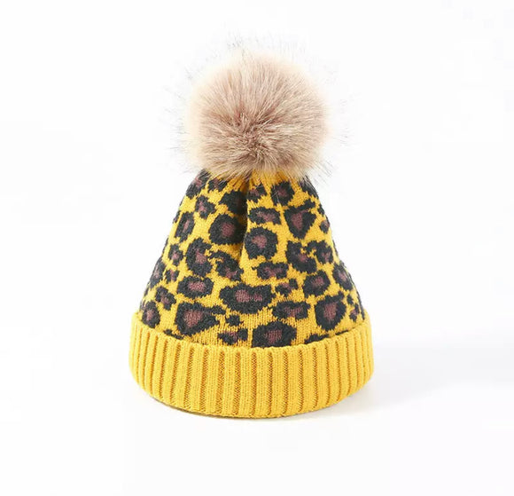 Fur Lined mustard yellow leopard knitted Pom Pom hat