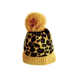 Lined mustard yellow leopard knitted Pom Pom hat
