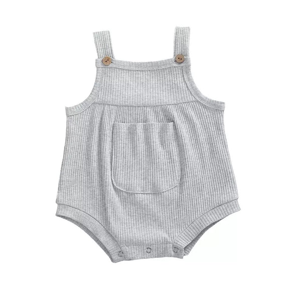 Grey mini pocket romper - up to 2 years