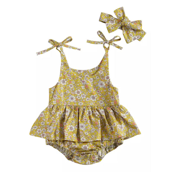 Wild flower yellow meadow romper with headband - up to 2 years