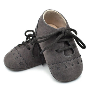 Charcoal Baby Suedette Brogue Shoes