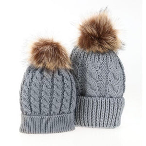 Mama and me grey matching single Pom Pom cable knitted hats - Adult and Baby sizes available - sold separately