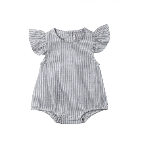 Pinstripe poplin shirt style frill sleeves romper with button back (0-2 years)