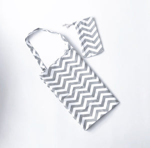 Chevron print breastfeeding apron and bag