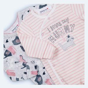 I love my mommy - animal print sleepsuit babygrow double set (0 to 12 months)