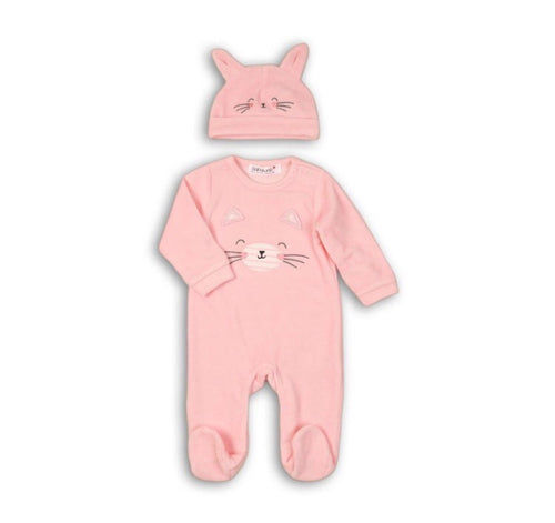 Cat pink romper and hat set