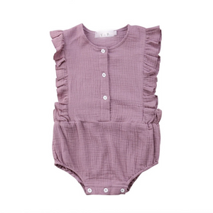 Mauve frill sleeve button cotton romper
