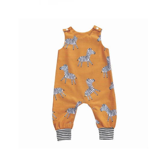 Mustard zebra print dungarees (sizes 0-2 years)