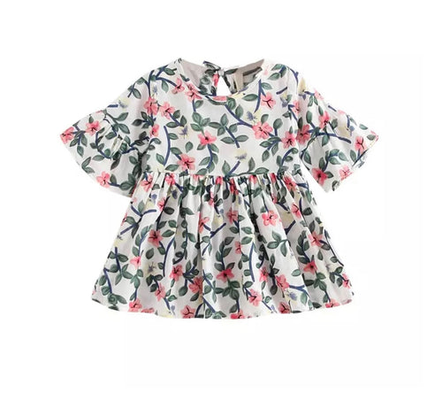 Cotswolds garden print summer sun smock dress