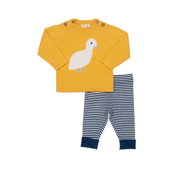 Organic cotton light spring summer knit duckling two piece set by KITE