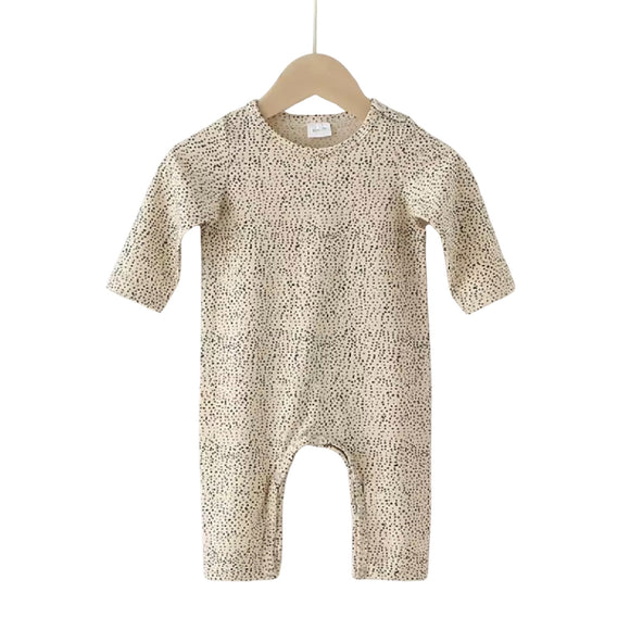 Nude dot footless plain chest romper (up to 18 months)