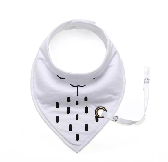 White animal fleece-lined cotton dribble bib with soother holder