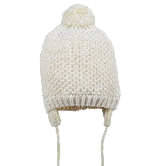 Girls waffle knit cream Pom Pom hat with fastener (1-4 years)