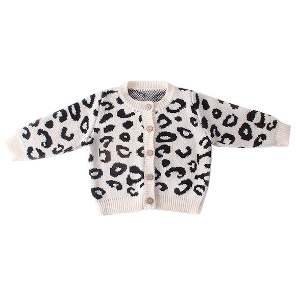 Leopard print knitted cardigan (0 to 2 years)