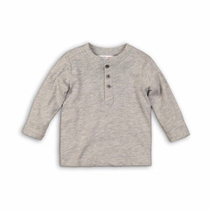 Grey marl long sleeved Henley jersey cotton top (9 months to 3 years)