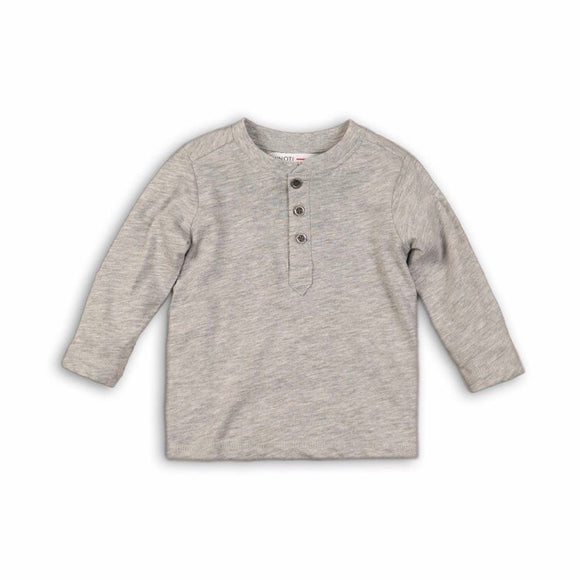 Clearance - 18-24 months - Grey marl long sleeved Henley jersey cotton top