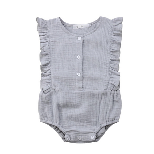 Grey frill sleeve button cotton romper