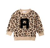Personalised leopard print long sleeve french jersey cotton top (6 months to 3 years