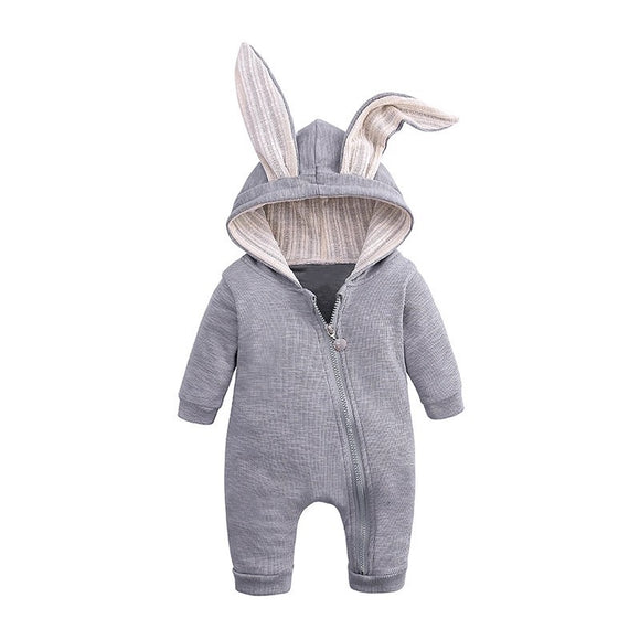 Grey bunny rabbit ears hooded zipped romper