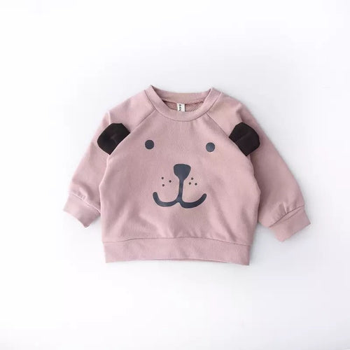 Dusky pink bear jersey cotton sweater top with feature ears and cute character face