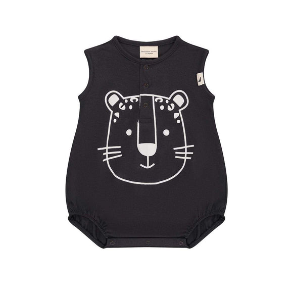 GOTS certified black cub organic cotton bubble romper by Turtledove London (up to 24 months)