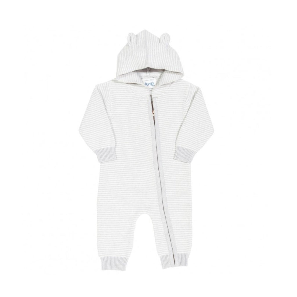My first onesie - Spring lightweight organic cotton grey and white fine stripe zippy knitted with onesie with bear ear hood by KITE (0-12 months)
