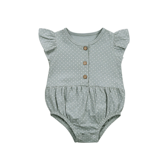 Green dot frill sleeved romper - up to 2 years