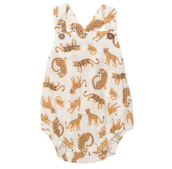 Cheetah cat kingdom organic GOTS certified cotton romper by KITE