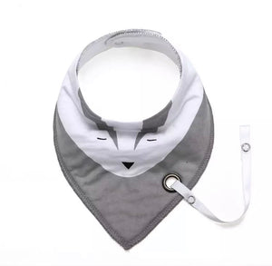 Grey badger fleece-lined cotton dribble bib with soother holder