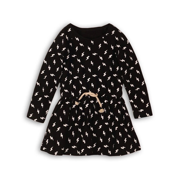 Girls monochrome bolt lightening swing dress (9 months to 3 years)