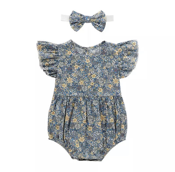 Marigold and blossom frill sleeved romper with complementary matching headband (up to 12 months)