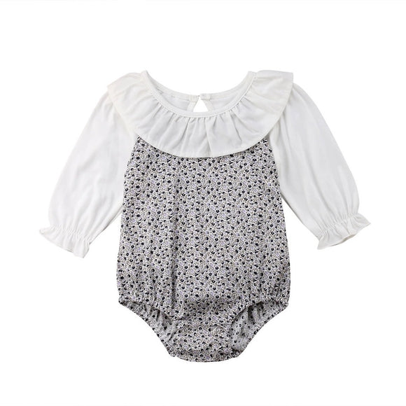Ditsy floral romper with mock blouse (0-2 years)