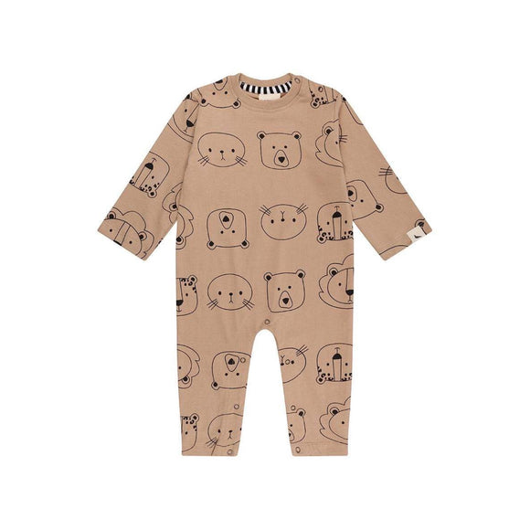 Cub faces bark organic cotton footless playsuit by Turtledove (0-12 months)